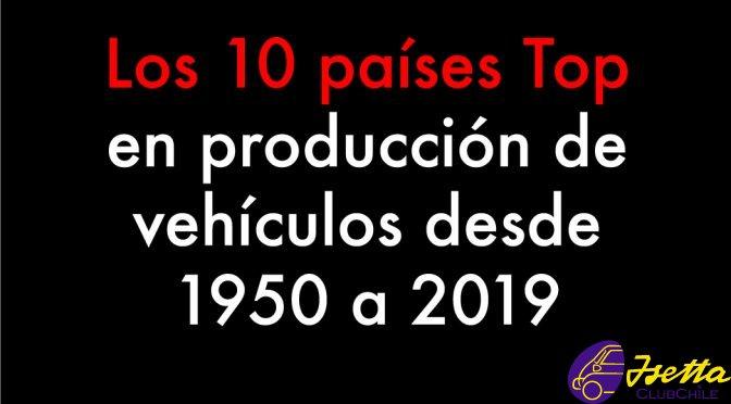 producción de vehículos desde 1950 a 2019